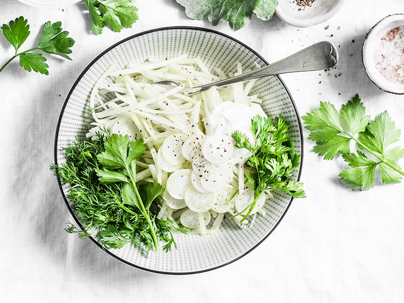 Slaw is a delicious way to enjoy vegetables you don't otherwise know what to do with - such as kohlrabi and broccoli stems.